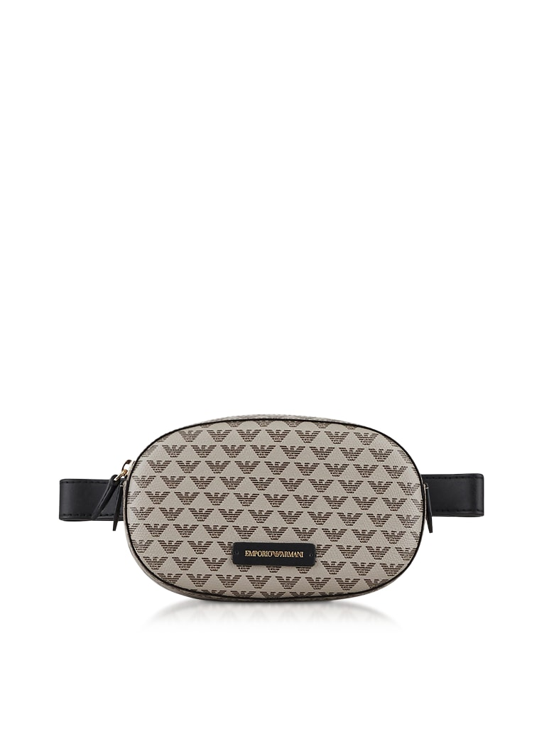 Emporio Armani Color Block Signature Belt Bag - Ecru/Dark Brown/Black