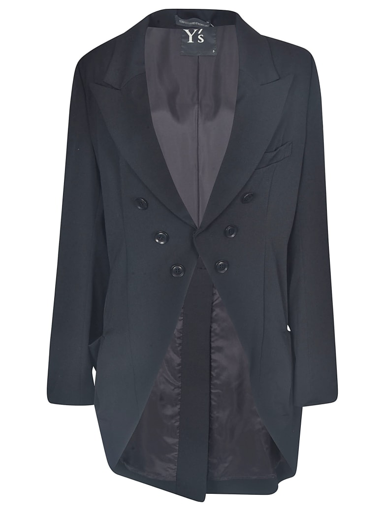 Y's Double-breasted Oversize Blazer - Black
