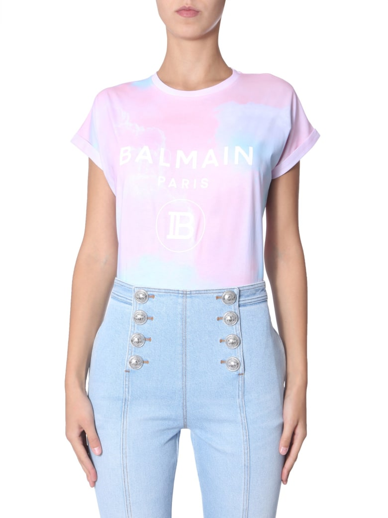 Balmain T-shirt With Flocked Logo - ROSA
