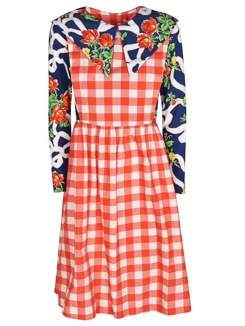 Batsheva Checked Floral Dress - Multicolor