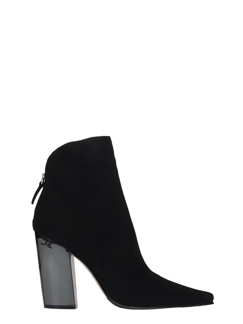 Le Silla High Heels Ankle Boots In Black Suede - black