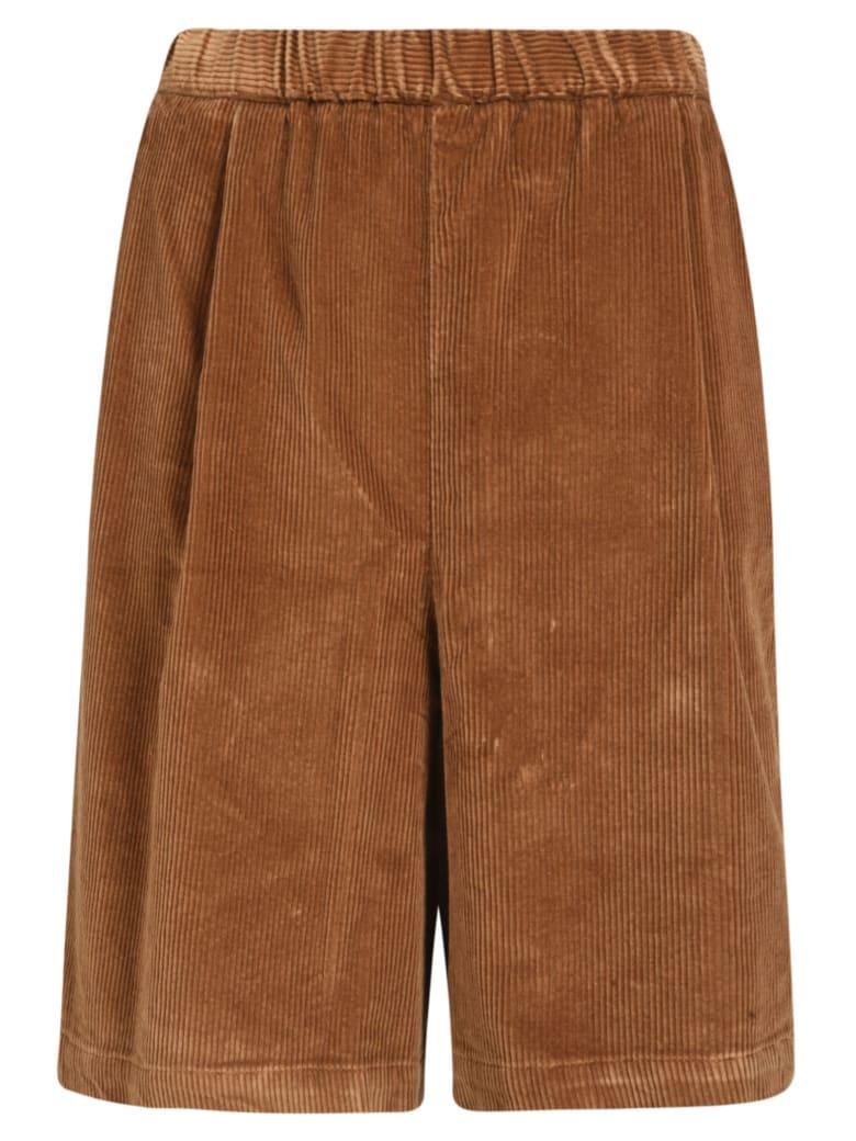 Barena Ribbed Waist Shorts - Camel