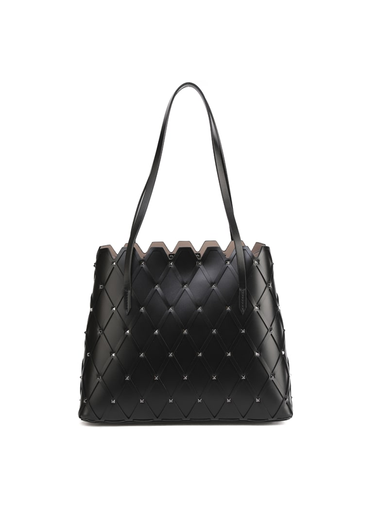 Valentino Garavani Rockstud Diamond-quilted Leather Tote - Black