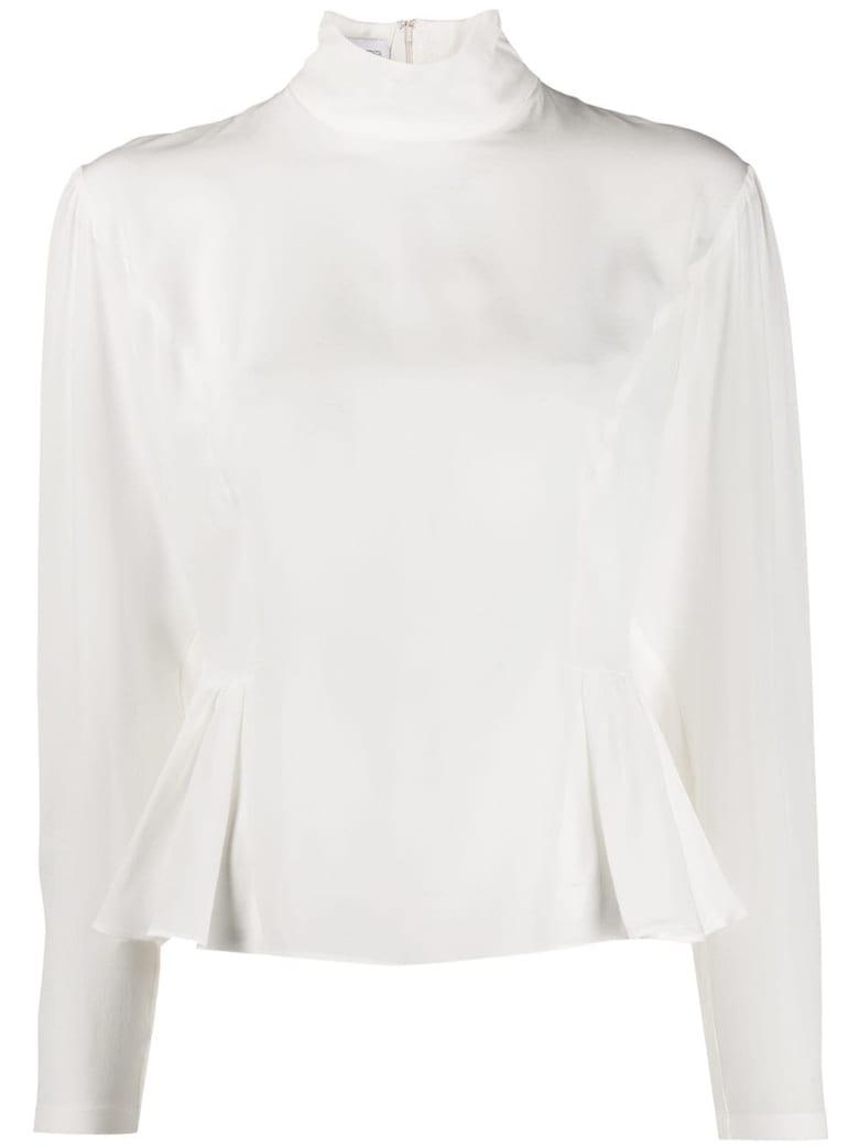 Giambattista Valli Long-sleeved Silk Peplum Blouse - Ivoire