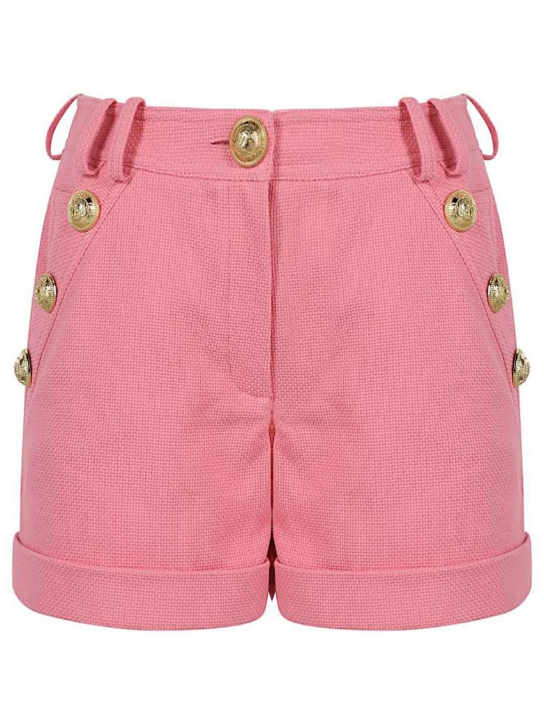 Balmain Rose Pink Cotton Shorts - Rosa