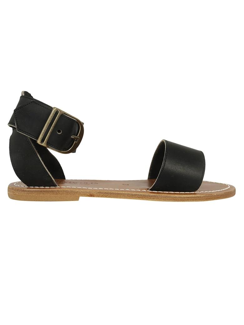 K.Jacques Carbet Buckle Sandals - Black/Brown