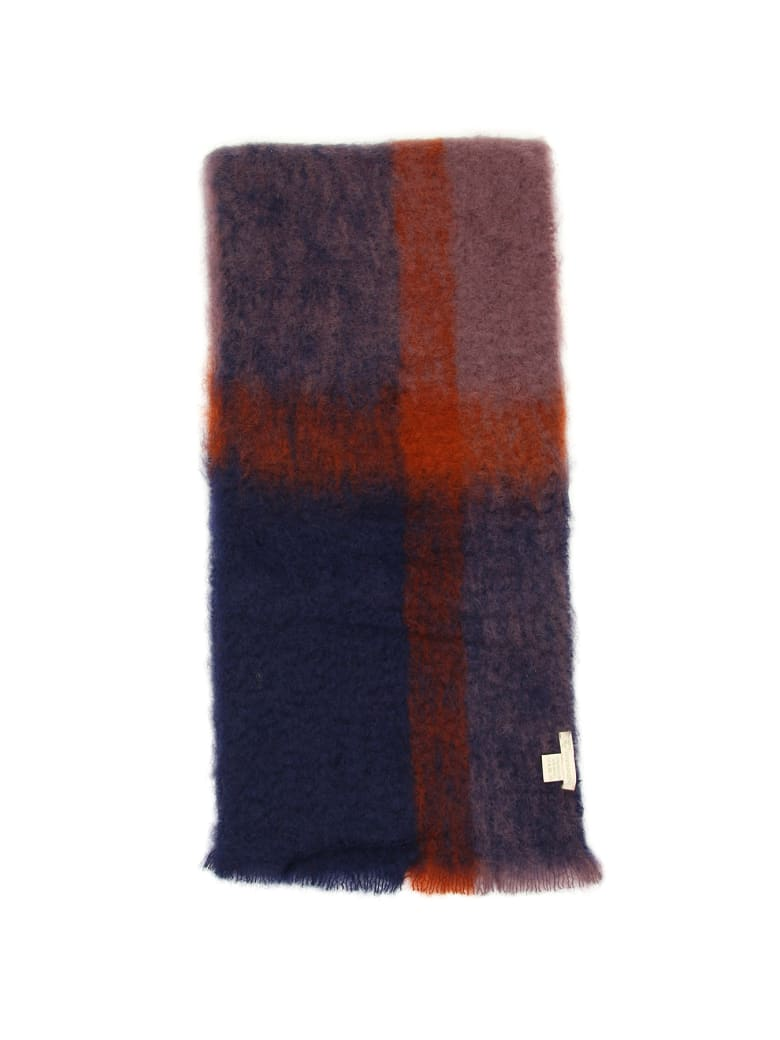 Lovat & Green Faded Check Scarf - NAVY (Blue)