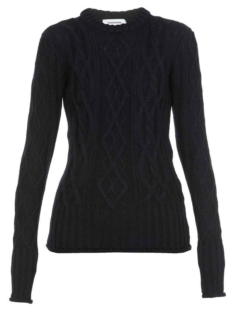 Thom Browne Cable Knit Sweater - NAVY