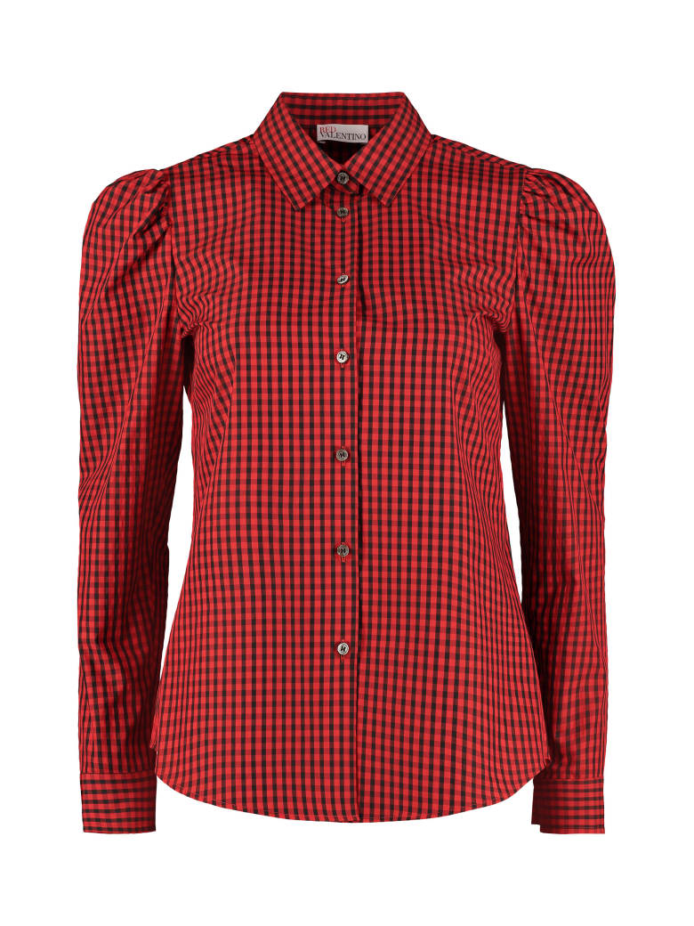 RED Valentino Long Sleeve Cotton Blend Shirt - red