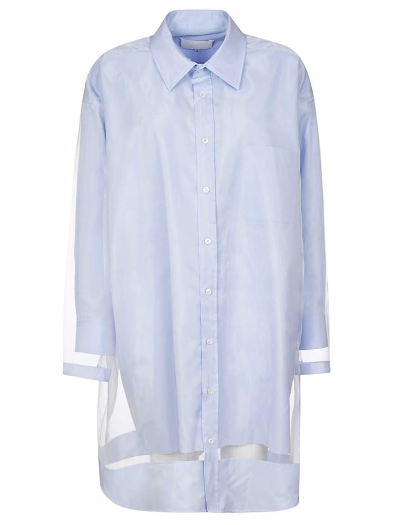 Maison Margiela Lace Detail Oversized Shirt Dress - Blue