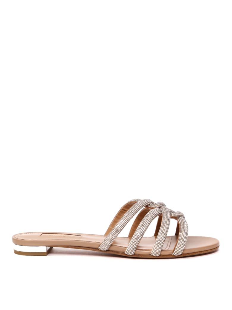 Aquazzura Crystals-embellished Leather Flats Sandals - Nude