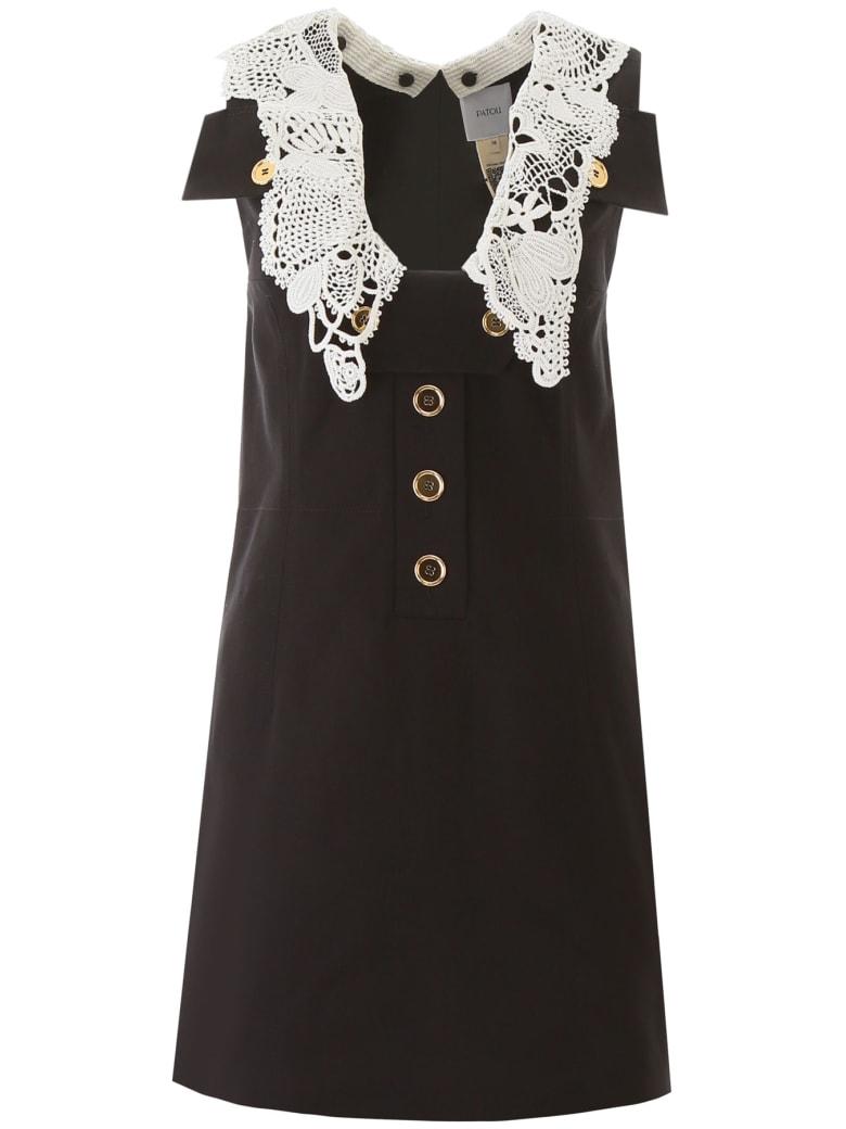 Patou Safari Mini Dress With Crochet - BLACK WITH CROCHET (Black)