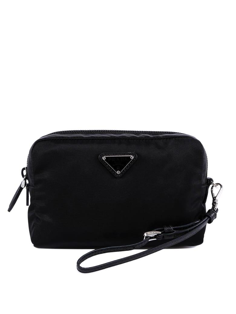 Prada Saffiano Leather-detailed Nylon Beauty Case - Black