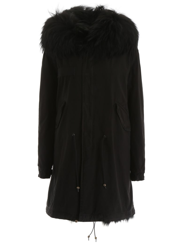 Mr & Mrs Italy Long Parka With Fur - BLACK (Black)