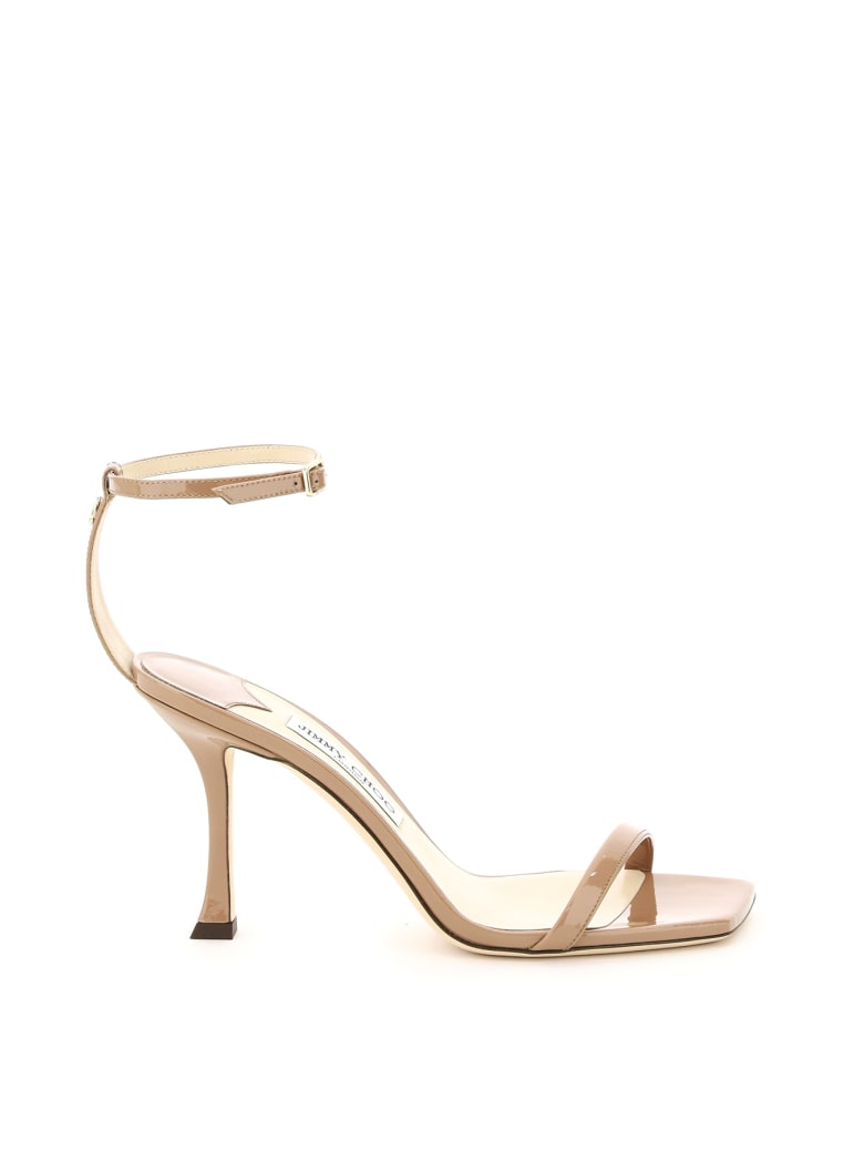 Jimmy Choo Marin 90 Patent Leather Sandals - DARK NUDE (Pink)