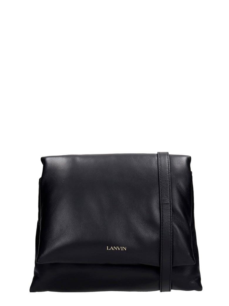 Lanvin Sugar  Shoulder Bag In Black Leather - black