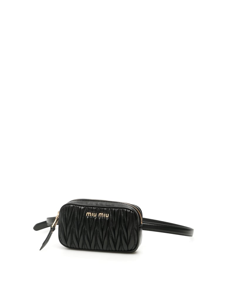 Miu Miu Mini Matelasse' Nappa Belt Bag - Nero