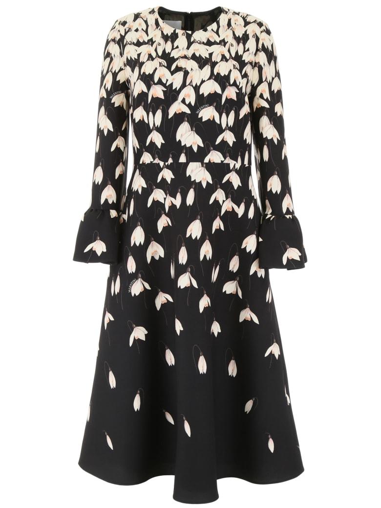 Valentino Snowdrop Midi Dress - NERO MULTICOLOR (Black)