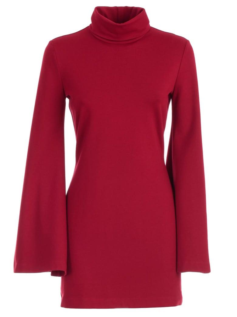 Sara Battaglia Dress L/s High Neck Pencil Jersey - Rosso