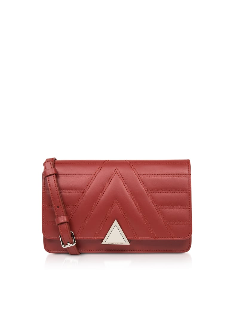 Lancaster Paris Parisienne Matelassé Quilted Leather Crossbody Bag - Red
