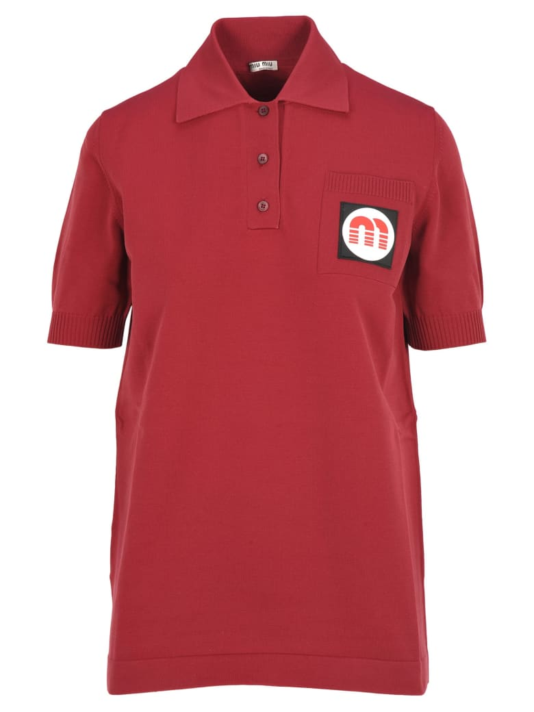 Miu Miu Miu Miu Nylon Polo Shirt - AMARANTH