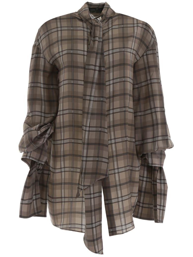 Rokh Open Back Shirt - BROWN CHECK (Grey)