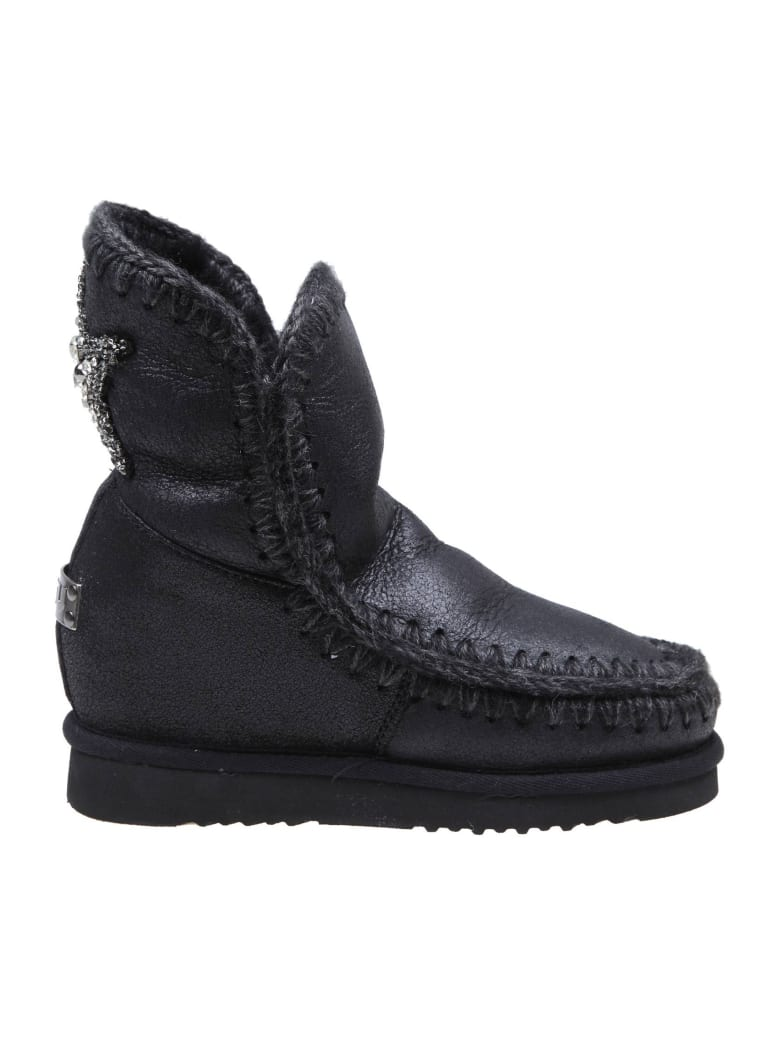 Mou Sneakers In Black Leather - Black/Gray
