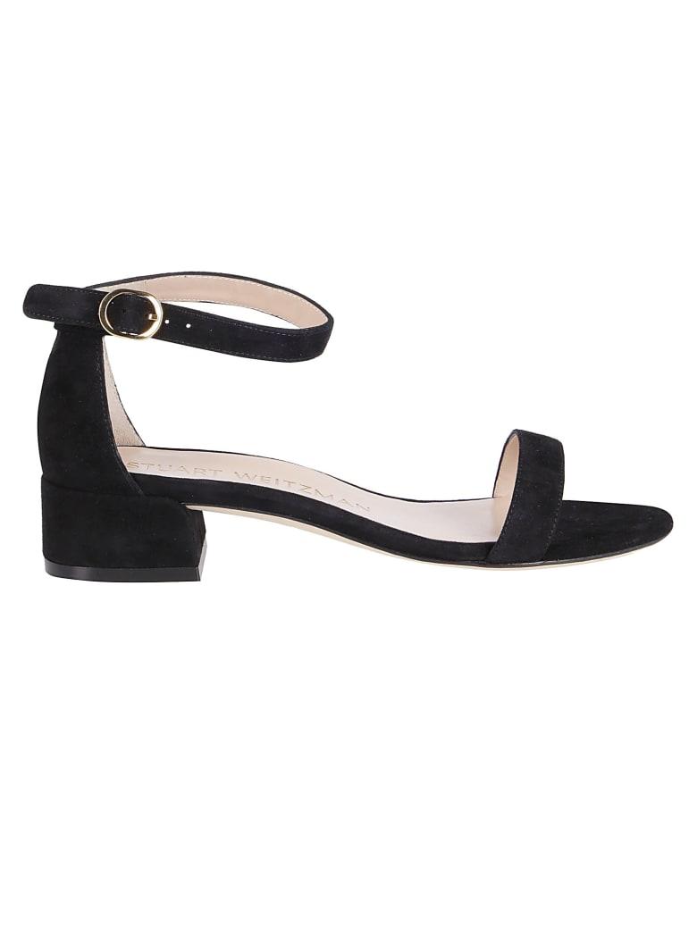 Stuart Weitzman Low Block Heel Sandals - Black