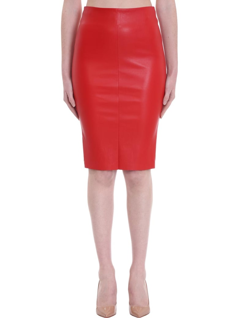 DROMe Skirt In Red Leather - red