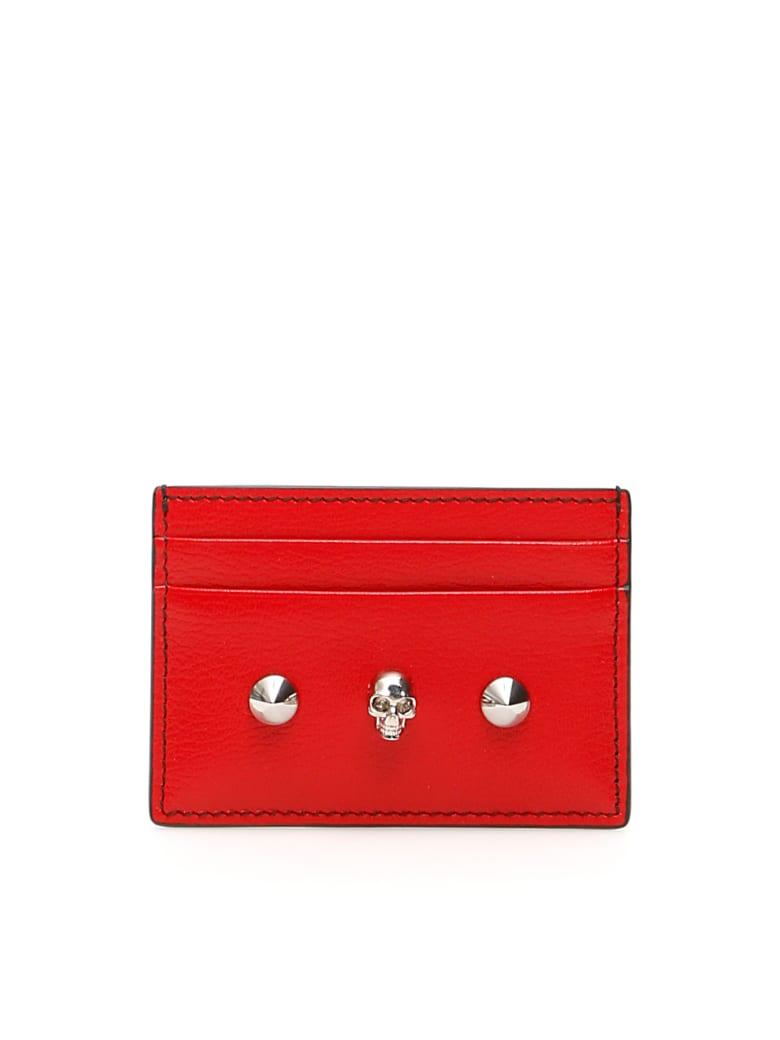 Alexander McQueen Skull Credit Card Holder - NEW RED BLACK (Red)