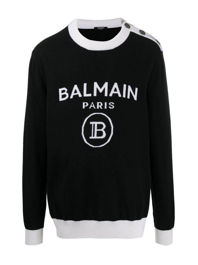 Balmain Black Wool-cashmere Jumper - Nero+bianco