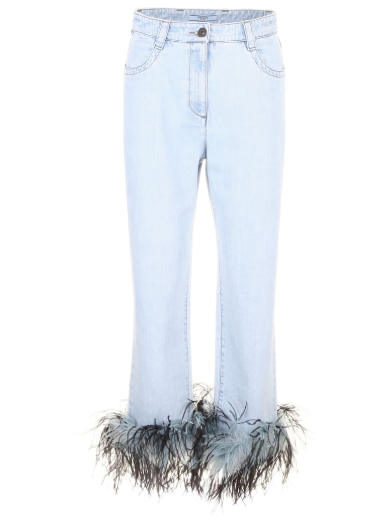 Prada Linea Rossa Jeans With Feathers - LIGHT BLUE (Light blue)