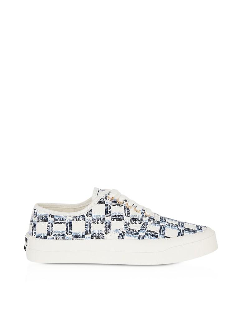 Maison Kitsuné All-over Rectangle Laced Canvas Sneaker - Blue