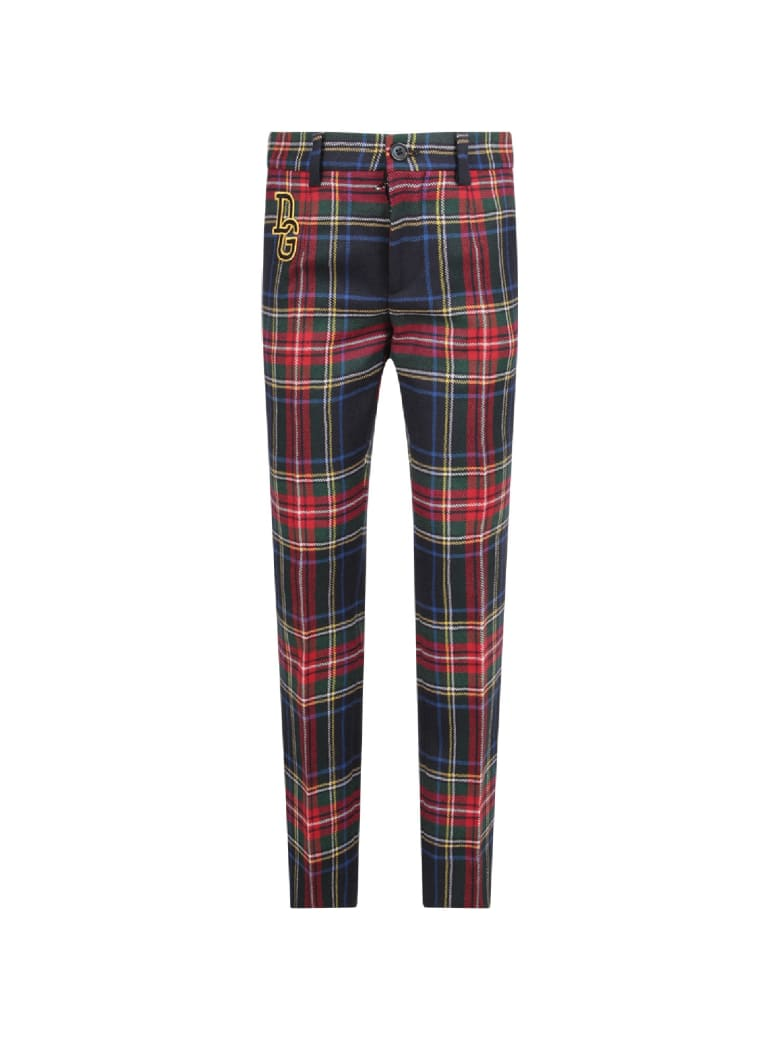 Dolce & Gabbana Colorful Boy Checked Pants With Logo - Multicolor