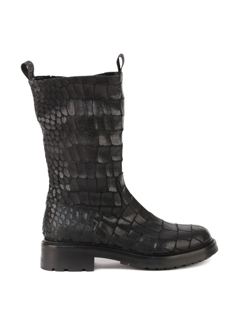 Elena Iachi Embossed Leather Combat Boots - Black