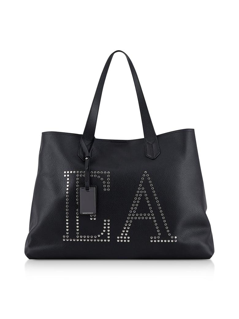 Emporio Armani Black Shopping Bag W/ Studs - Black