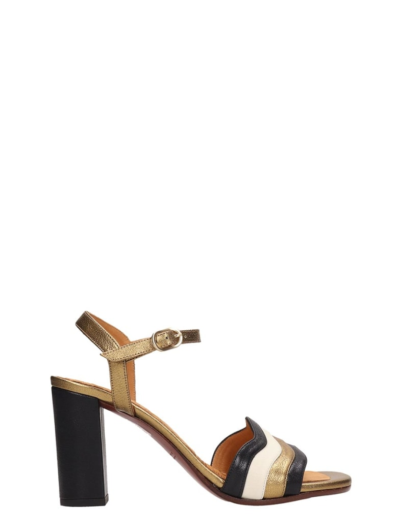 Chie Mihara Black And Gold Leather Sandals Baola - black