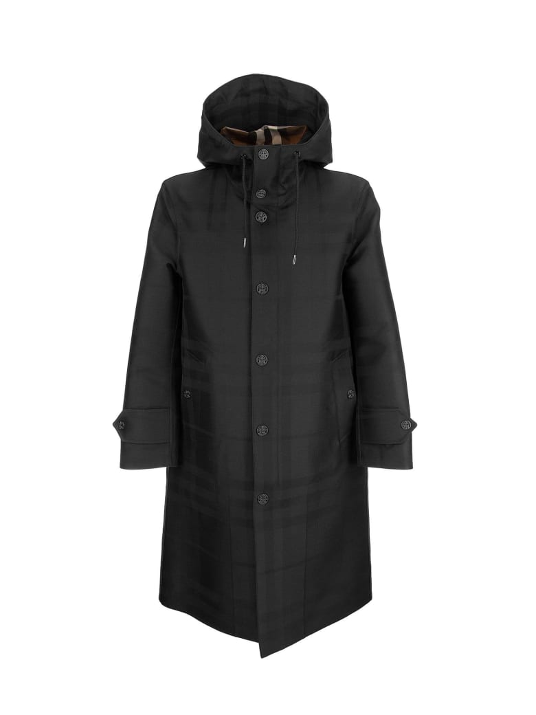 Burberry Witham - Globe Graphic Detail Check Technical Cotton Coat - Black