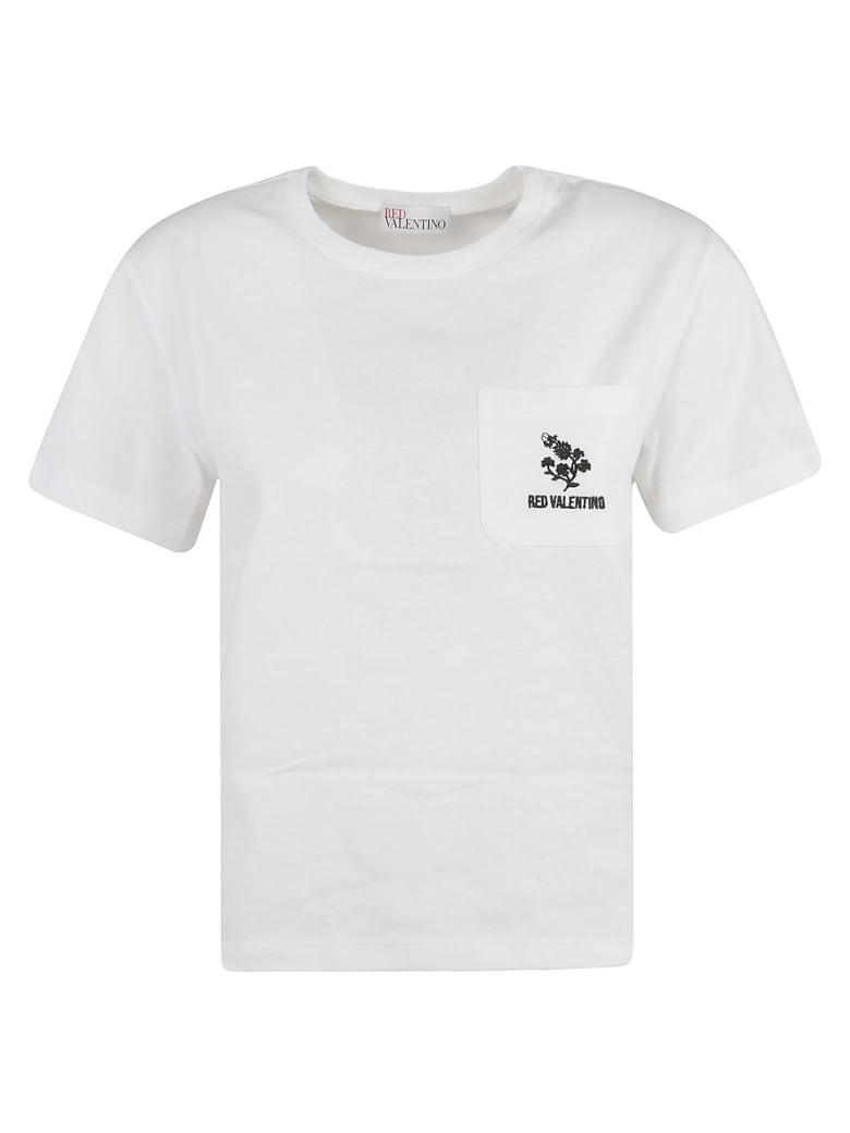 RED Valentino Logo Patch Pocket T-shirt - Optic White