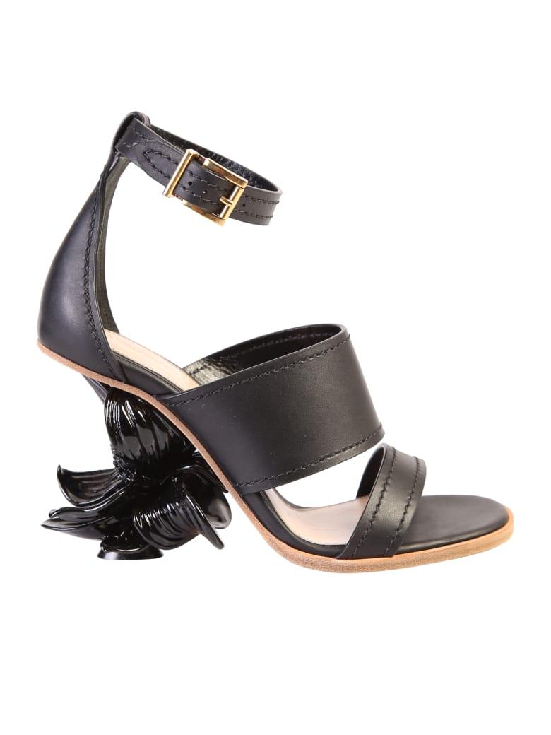 Alexander McQueen Flower Heel Leather Sandals - Black