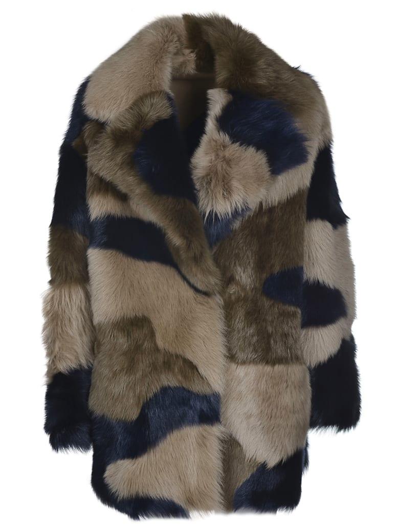 Blancha Fur Applique Coat - Blu