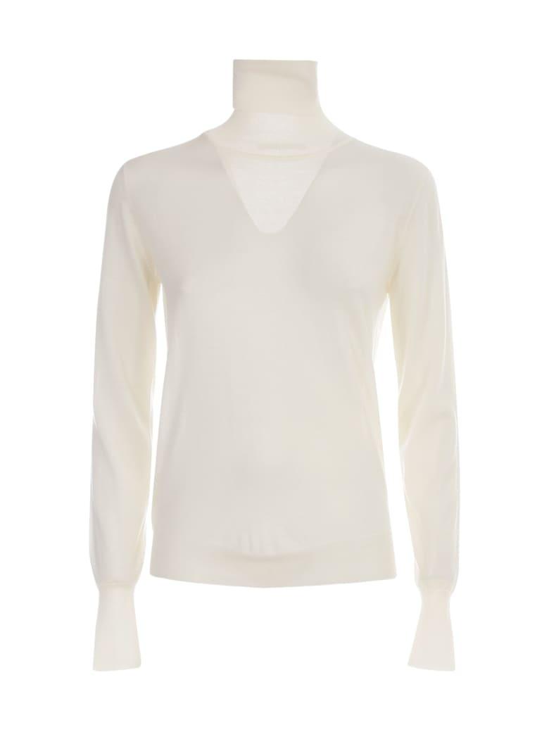 Nuur High Neck 100% Merino Wool Sweater - Panna