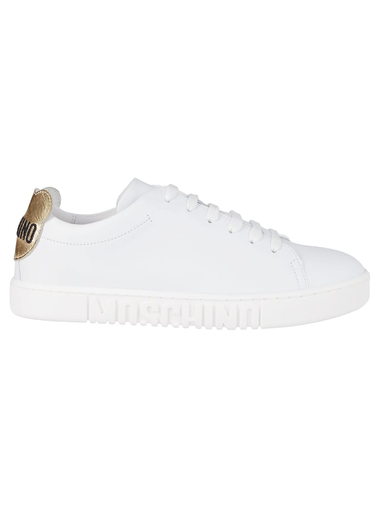 Moschino White Leather Teddy Bear Sneakers - White
