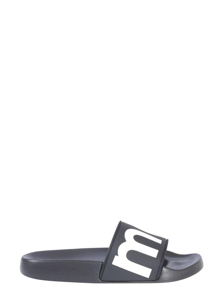Isabel Marant Étoile Rubber Slide Slippers With Logo - NERO