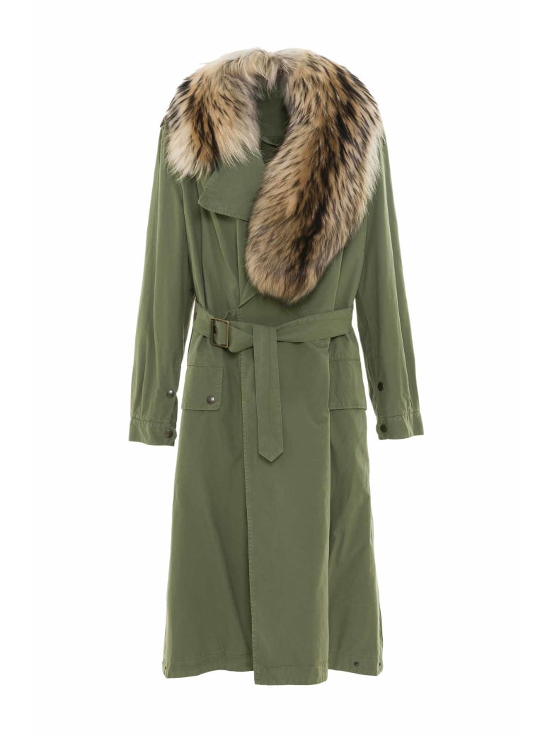 Mr & Mrs Italy Nick Wooster Unisex Trench With Fur Scarf - ARMY / ARMY / NATURAL