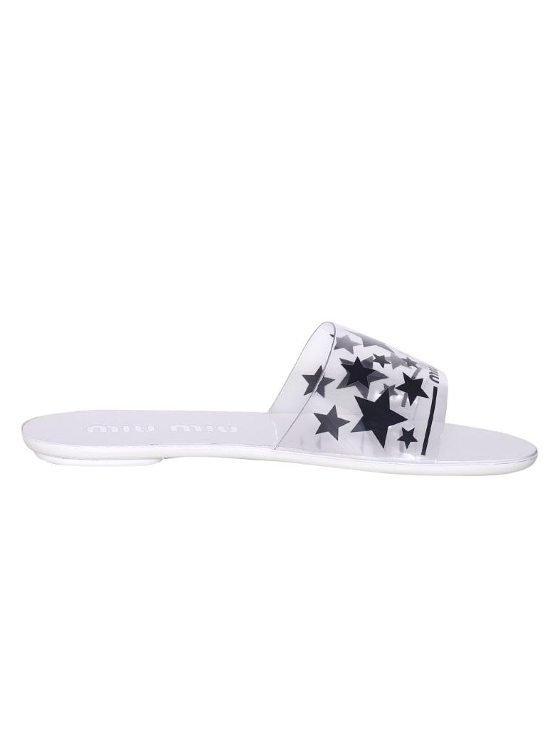 Miu Miu Star Print Sliders - Bianco
