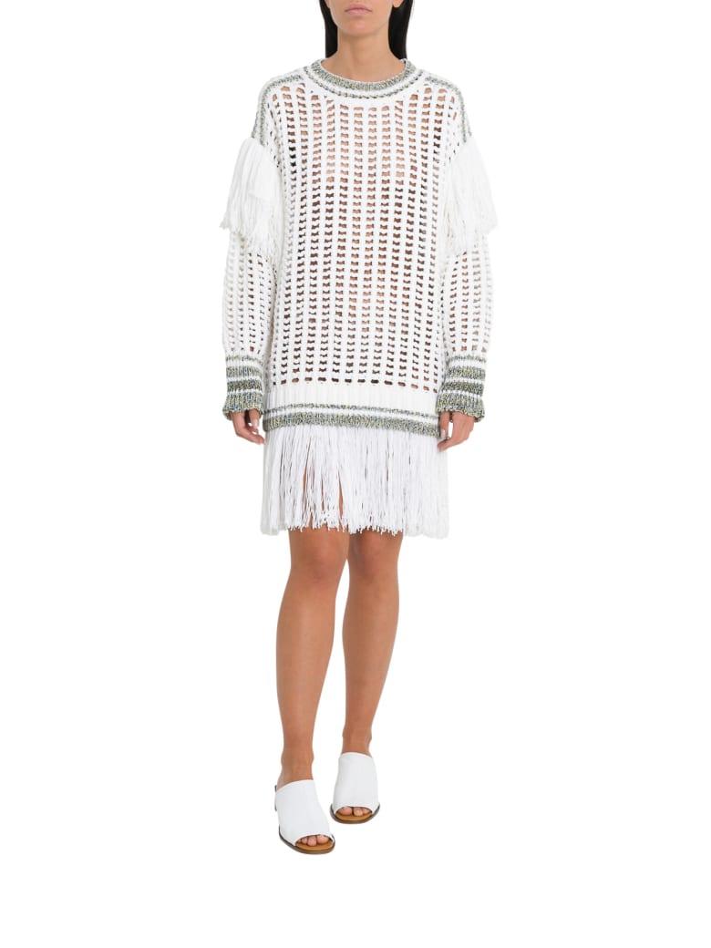 Sonia Rykiel Fishnet Fringe Jumper Dress - Bianco