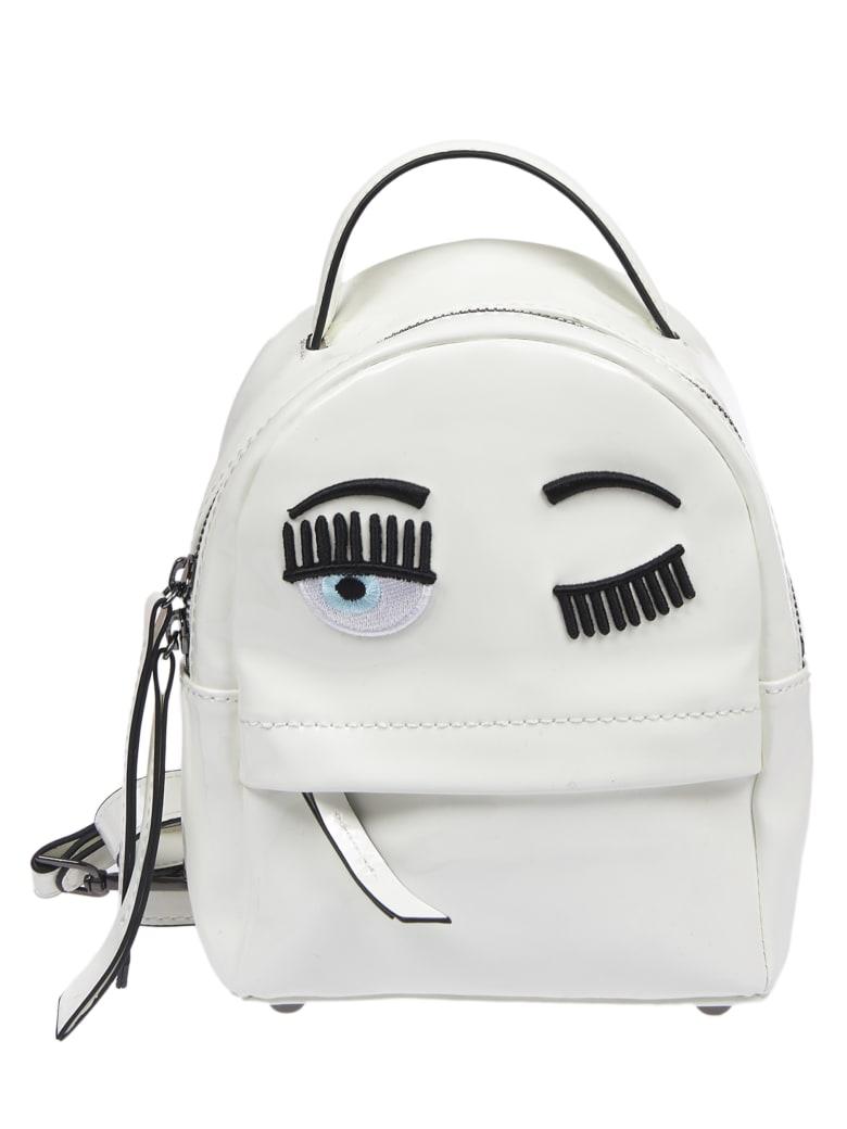 """Chiara Ferragni White Vinyl Backpack """"flirting"""" Backpack - white"""