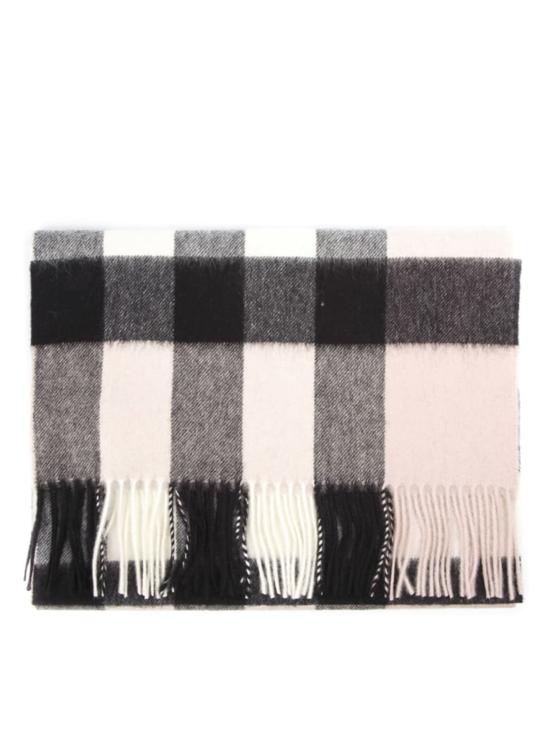 Burberry Light Pink Cashmere Check Pattern Scarf - Light pink