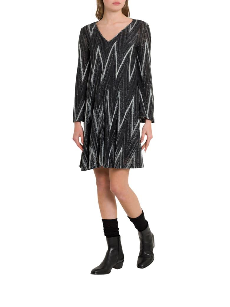 M Missoni Lurex Knit Dress With Chevron Motif - Argento